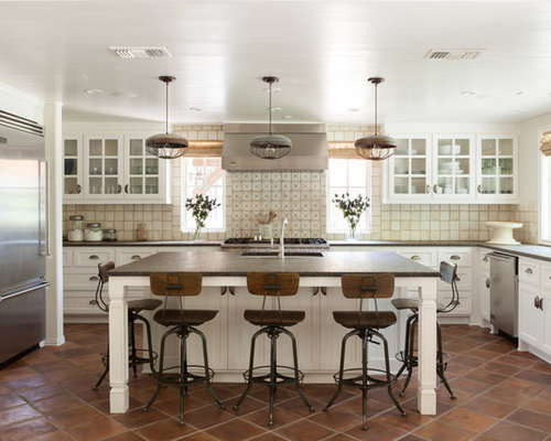 Transitional u-shaped kitchen photo in Dallas with recessed-panel cabinets,  white cabinets - Vintage Toledo Bar Stool Houzz
