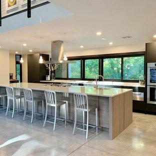 ボストンのトランジショナルスタイルのおしゃれなキッチン (アンダーカウンターシンク、フラットパネル扉のキャビネット、黒いキャビネット、シルバーの調理設備、コンクリートの床、グレーの床、白いキッチンカウンター、クオーツストーンカウンター) の写真