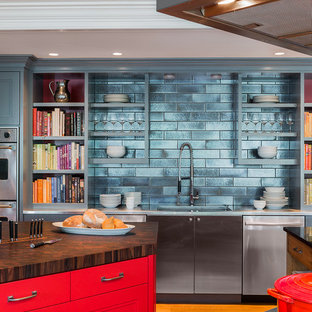 Transitional Kitchen Photo In Boston With Open Cabinets, Red Cabinets, Wood  Countertops, Metallic