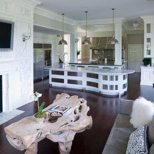 ニューヨークの大きいトラディショナルスタイルのおしゃれなキッチン (シングルシンク、フラットパネル扉のキャビネット、ステンレスキャビネット、ステンレスカウンター、シルバーの調理設備の、濃色無垢フローリング、紫の床、白いキッチンカウンター) の写真