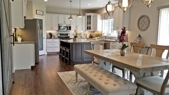 Transitional Kitchen White and Gray