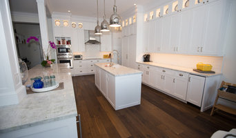 Transitional Kitchen with Wire Brushed Distressed Oak Hardwood Floors