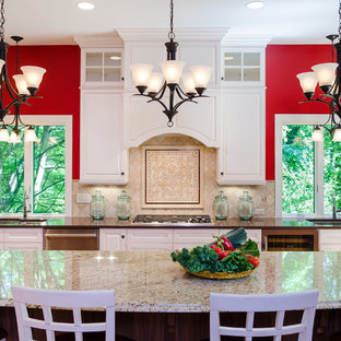 Inspiration for a transitional l-shaped kitchen remodel in Richmond with an island