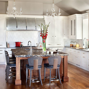 Transitional Modern Kitchen with Custom Barrel Hood