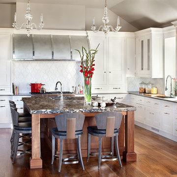 Transitional Modern Kitchen with Custom Barrel Hood