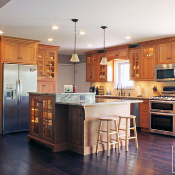 Transitional Natural Cherry Kitchen with Double-tiered Island