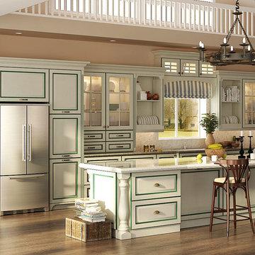 Transitional PVC Kitchen Cabinet OP15-PVC01