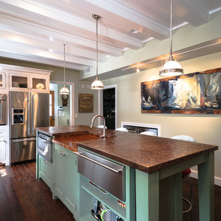 Photo of a mid-sized transitional u-shaped separate kitchen in Atlanta with a farmhouse sink, recessed-panel cabinets, white cabinets, copper benchtops, green splashback, ceramic splashback, stainless steel appliances, dark hardwood floors and with island.