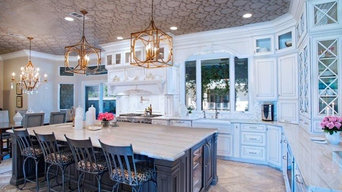 Transitional Two Tone Kitchen with Stacked Cabinets