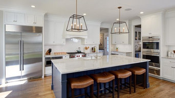 Transitional White Custom Cabinetry With Blue Island | Longmeadow, MA