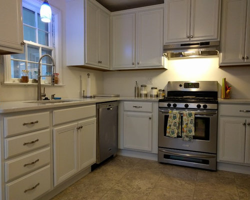 Transitional Kitchen Design Ideas, Remodels & Photos with White Cabinets and Vinyl Floors