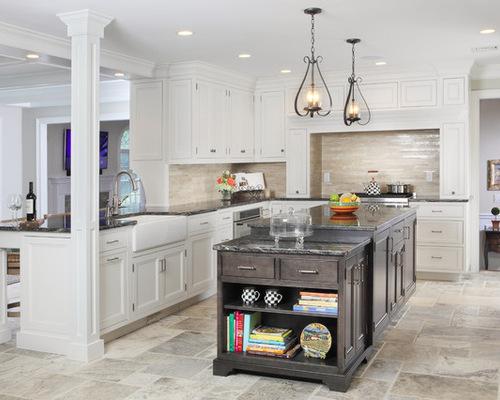 silver travertine kitchen backsplash