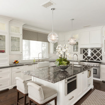 Transitional White Kitchen With Bling