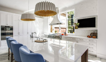 Transitional White Marble Kitchen