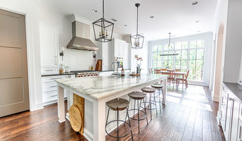 Transitional White Marble Kitchen | Waterfall