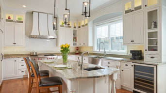 Transitional White painted inset Kitchen in Brookline