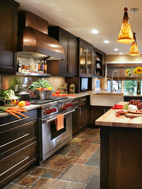Kitchen design ideas renovations photos with dark wood for Kitchen design houzz