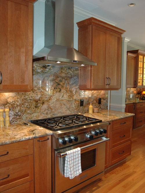 Warm Transitional Kitchen With Fusion Granite Counter Tops