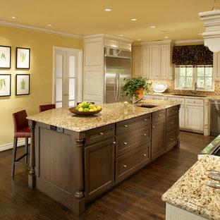ダラスの中サイズのトラディショナルスタイルのおしゃれなキッチン (ダブルシンク、シェーカースタイル扉のキャビネット、白いキャビネット、御影石カウンター、マルチカラーのキッチンパネル、モザイクタイルのキッチンパネル、シルバーの調理設備の、濃色無垢フローリング) の写真