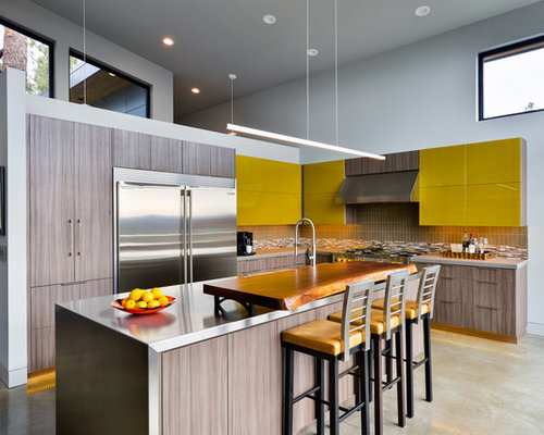 Example Of A Mid Sized Trendy L Shaped Open Concept Kitchen Design In Other
