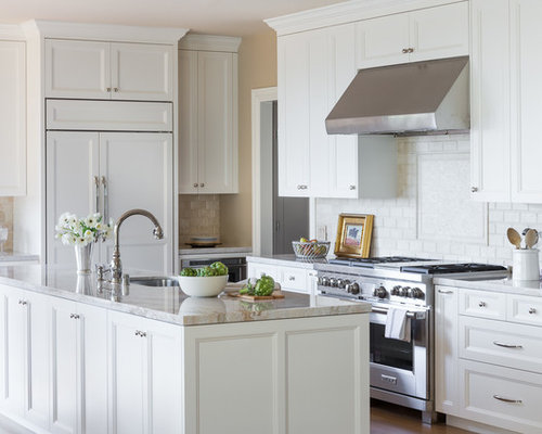 Traditional L Shaped Kitchen Idea In San Francisco With An Undermount Sink,  Recessed
