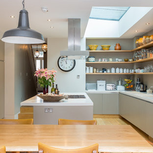 Design ideas for a large contemporary kitchen/diner in London with flat-panel cabinets, grey cabinets, light hardwood flooring and an island.