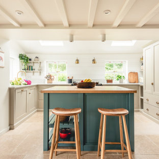 Design ideas for a medium sized rural u-shaped kitchen in Cardiff with shaker cabinets, beige cabinets, integrated appliances, porcelain flooring, an island, beige floors and beige worktops.