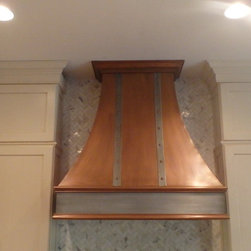 Trent hood - Copper oven hood with zinc straps and center molding, with copper dads and custom molding