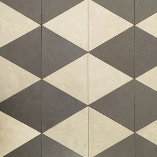 Triangle Shaped Cork Flooring Tiles in Alabaster and Cement Gray