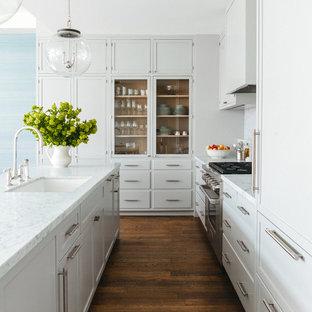 Diseño de cocina clásica renovada, de tamaño medio, con una isla, fregadero bajoencimera, armarios tipo vitrina, puertas de armario grises, electrodomésticos de acero inoxidable y suelo de madera oscura