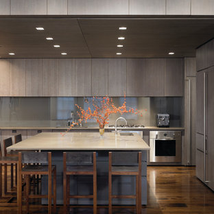 Modern kitchen appliance - Example of a minimalist u-shaped kitchen design in Chicago with flat-panel cabinets, gray cabinets, gray backsplash, glass sheet backsplash and paneled appliances
