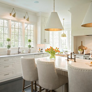 Inspiration for a timeless kitchen remodel in Nashville with an island and gray countertops