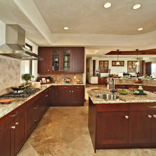 Example of an island style u-shaped kitchen design in Hawaii with dark wood cabinets