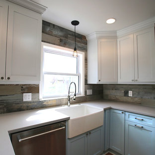 75 Most Por Farmhouse Kitchen with No Island Design Ideas for ... U Shaped With Island Sink And Dishwasher Small Kitchen Ideas on