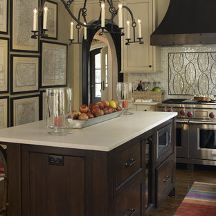 Example Of A Transitional Kitchen Design In Minneapolis With Mosaic Tile  Backsplash, Stainless Steel Appliances. Save Photo. Tudor Revival