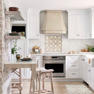 This is an example of a shabby-chic style kitchen in Miami.