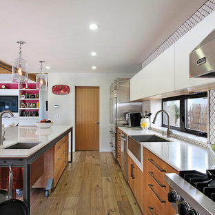Inspiration for a contemporary kitchen remodel in Los Angeles with stainless steel appliances and a farmhouse sink
