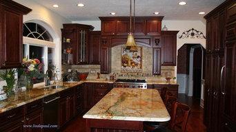 Tuscan Kitchen backsplash with Cherry Cabinets and rare Granite
