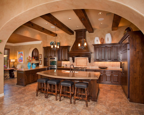 Tuscan Kitchen Photo In Austin With Paneled Appliances And Granite  Countertops Part 14