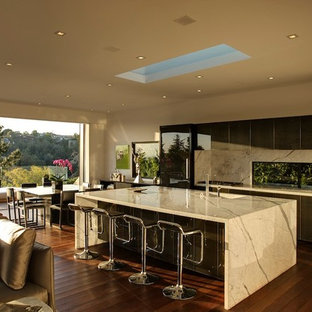 Contemporary kitchen remodeling - Example of a trendy kitchen design in Los Angeles