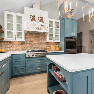 75 Beautiful Kitchen With Turquoise Cabinets And Brick Backsplash Pictures Ideas April 2021 Houzz