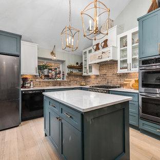 Turquoise Cabinets And Quartz