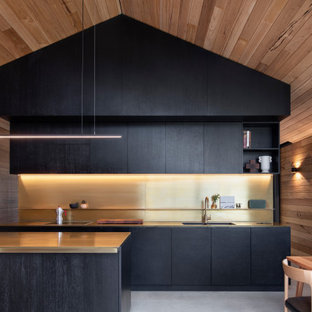 Design ideas for a contemporary galley eat-in kitchen in Other with an undermount sink, flat-panel cabinets, black cabinets, metallic splashback, panelled appliances, concrete floors, a peninsula, grey floor, vaulted and wood.