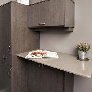 トロントの小さいコンテンポラリースタイルのおしゃれなキッチン (シングルシンク、フラットパネル扉のキャビネット、グレーのキャビネット、クオーツストーンカウンター、白いキッチンパネル、セラミックタイルのキッチンパネル、シルバーの調理設備の、クッションフロア、アイランドなし、グレーの床) の写真