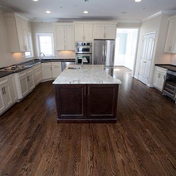 Two Tone Kitchen: Antique Brown Granite & Millennium Cream Granite