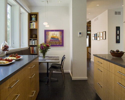 Contemporary kitchen idea in Chicago with flat-panel cabinets and medium  tone wood cabinets - Best Dark Floor Kitchen Design Ideas & Remodel Pictures Houzz