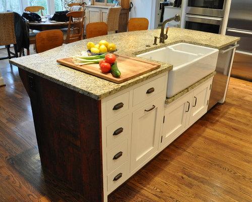 Farmhouse sink dishwasher houzz for Artistic kitchen cabinets