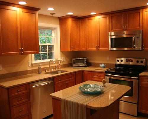 Http Www Houzz Com Photos Traditional Kitchen Budget 24 24 Cabinet Finish Light Wood Layout L Shape Size Medium Type Enclosed