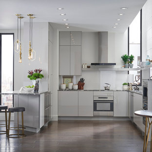 Mid-sized contemporary open concept kitchen designs - Example of a mid-sized trendy u-shaped dark wood floor open concept kitchen design in Boston with an undermount sink, flat-panel cabinets, gray cabinets, granite countertops, white backsplash, glass sheet backsplash, stainless steel appliances and no island