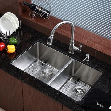 "Undermount 60/40 Double-Bowl 16-Gauge Stainless Steel Kitchen Sink, 33"""
